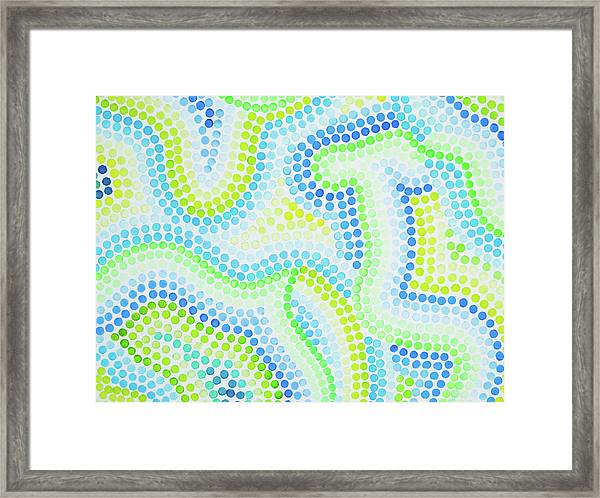 Pointillism - Blue And Green Curves Framed Print