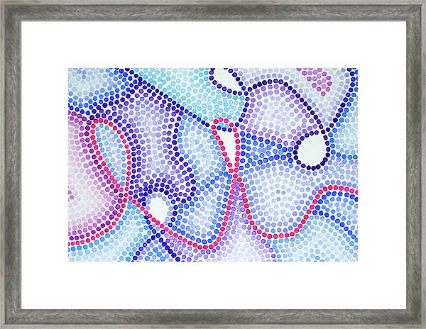 Pointillism - Loopy Pink And Purple Framed Print