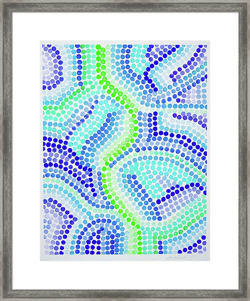 Pointillism On Half A Steroid - Blue And Green Framed Print