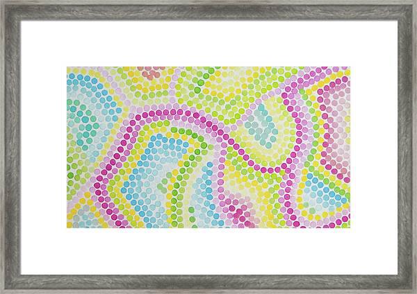 Pointillism - Palm Beach Pink And Green Framed Print