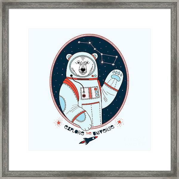 Polar Bear Astronaut In Outer Space Framed Print