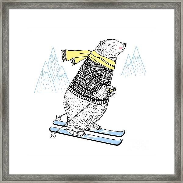 Polar Bear Skier, Decorative Animal Framed Print