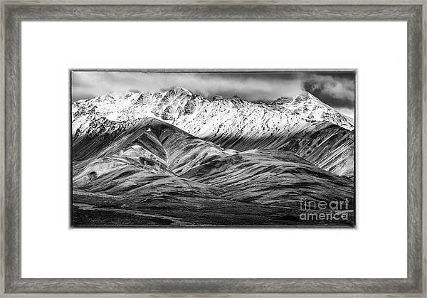 Polychrome Mountain, Denali National Park, Alaska, Bw Framed Print