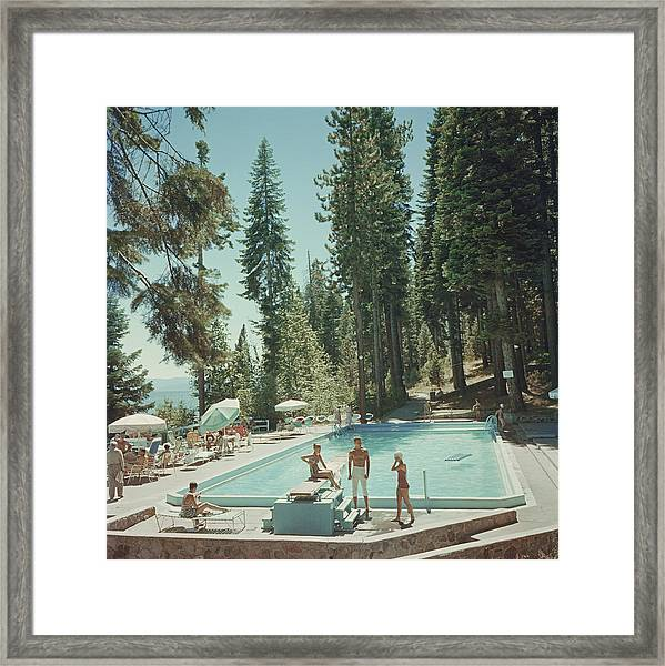 Pool At Lake Tahoe Framed Print by Slim Aarons