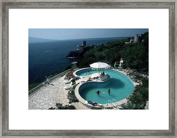Pool At Villa Gli Arieti Framed Print by Slim Aarons