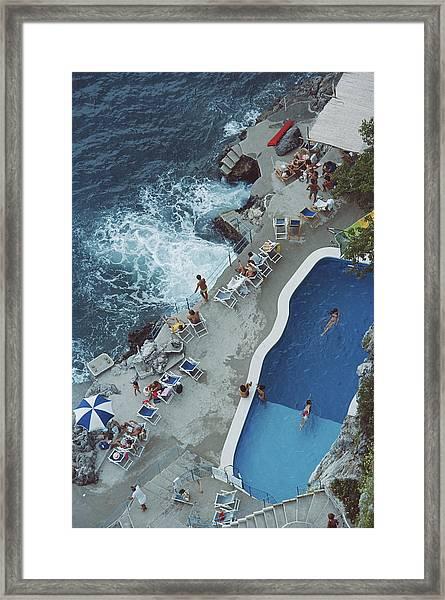 Pool On Amalfi Coast Framed Print by Slim Aarons