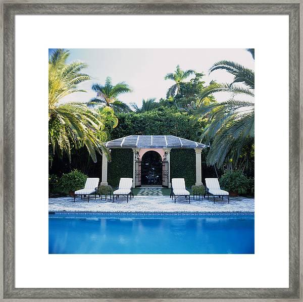 Poolside, Palm Beach, Florida, Usa Framed Print