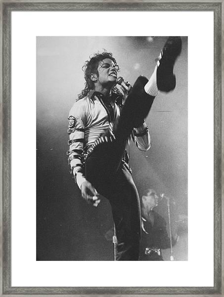 Pop Star Michael Jackson Gets His Kicks Framed Print by New York Daily News Archive