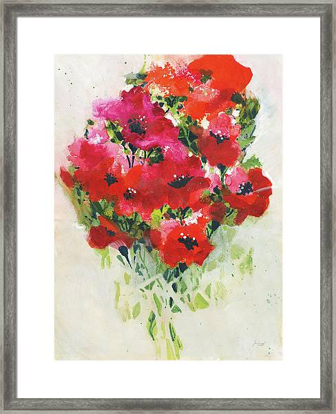 Poppy Bouquet Framed Print by Jan Griggs