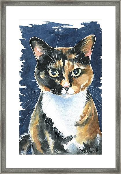 Poppy Calico Cat Painting Framed Print