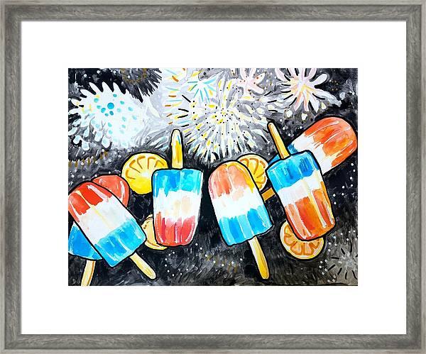 Popsicles And Fireworks Framed Print