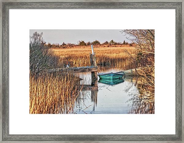 Poquoson Marsh Boat Framed Print