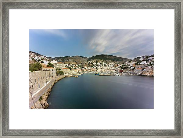 Framed Print featuring the photograph Port At Hydra Island by Milan Ljubisavljevic