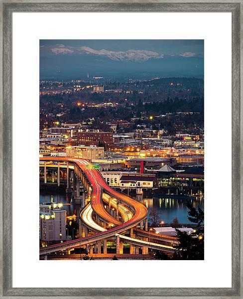Portland At Night Framed Print