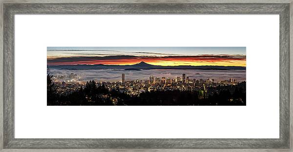 Portland Foggy Sunrise Framed Print
