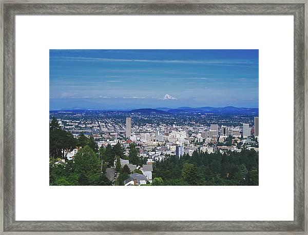 Portland, Oregon Beneath Mount Hood Framed Print