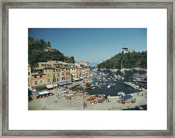 Portofino Harbour Framed Print by Slim Aarons