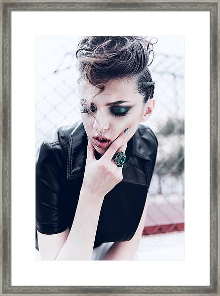 Portrait Of A Beautiful Brunette Girl Framed Print