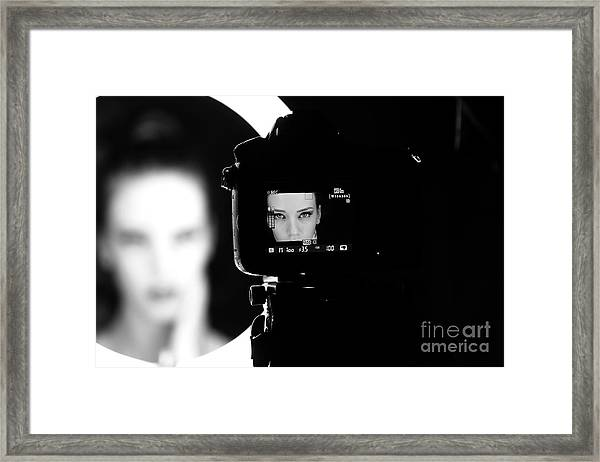 Portrait Of A Beautiful Girl Through Framed Print