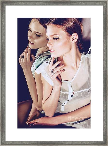 Portrait Of A Beautiful Pensive Girl In Framed Print