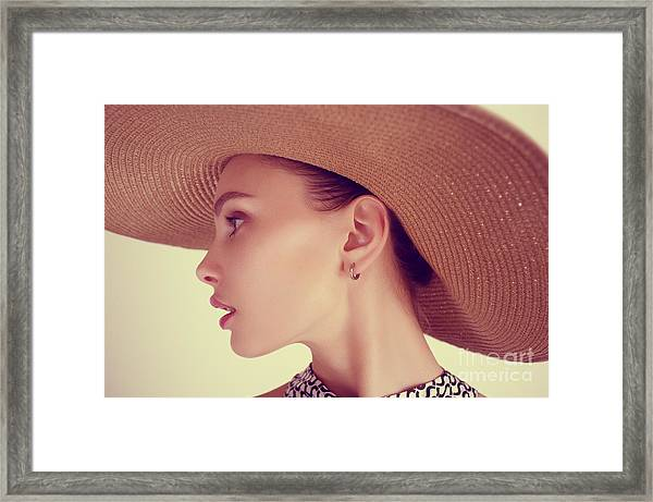 Portrait Of A Beautiful Sensual Young Framed Print