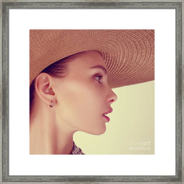 Portrait Of A Beautiful Young Brunette Framed Print