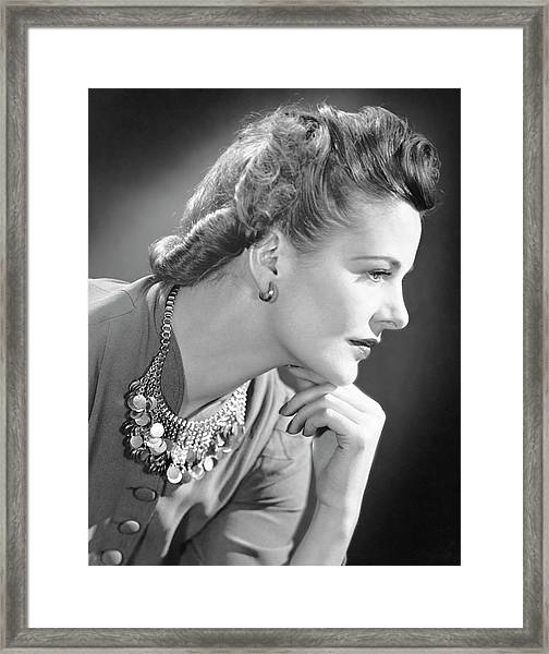 Portrait Of A Thinking Woman Framed Print by George Marks