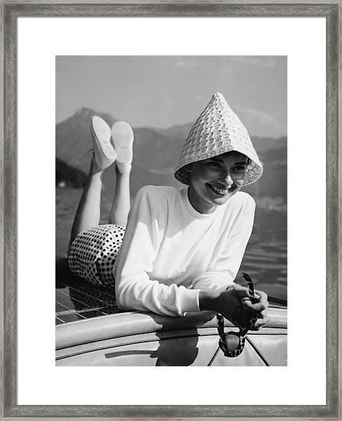 Portrait Of Audrey Hepburn Framed Print