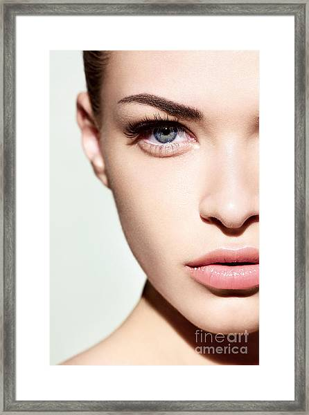 Portrait Of Beautiful Woman With Nude Framed Print