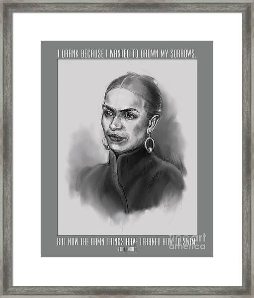 Portrait Of Frida Kahlo Framed Print