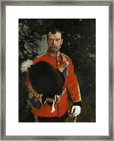 Portrait Of His Imperial Majesty Nicolai II Alexandrvitch, Tsar Of All The Russias Framed Print