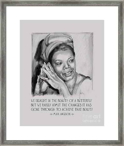 Portrait Of Maya Angelou Framed Print