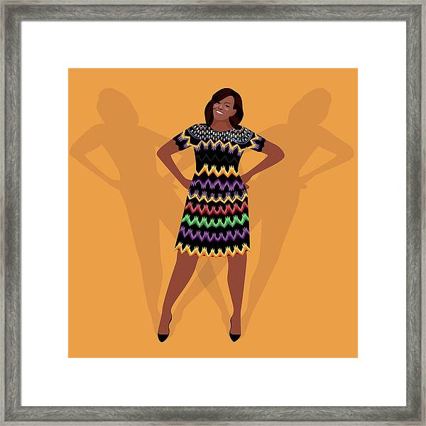 Portrait Of Michelle Obama Framed Print