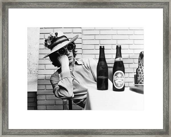 Portrait Of Mick Jagger With A Sun Hat Framed Print