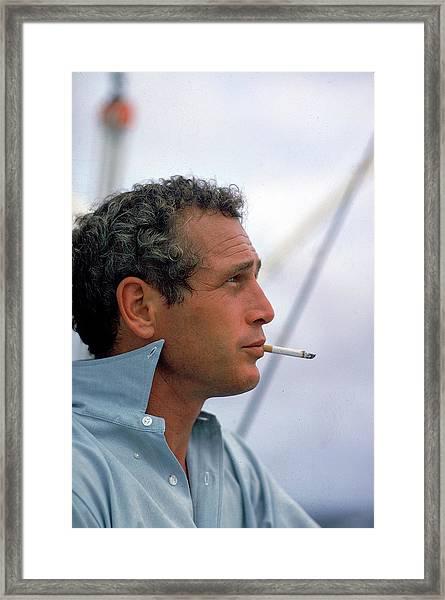 Portrait Of Paul Newman Smoking Framed Print by Mark Kauffman