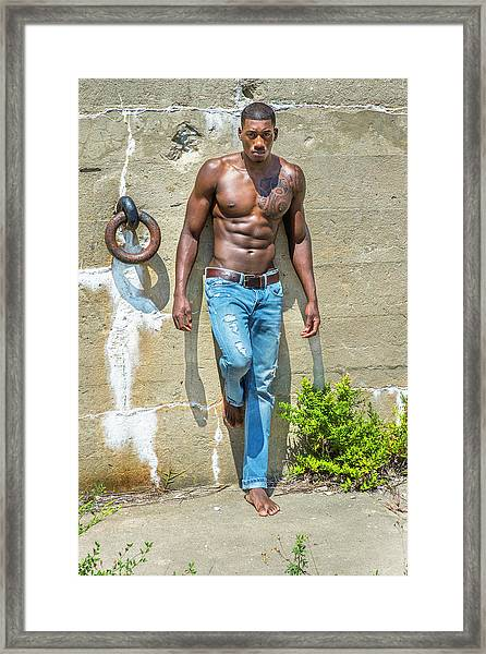 Portrait Of  Young Black Fitness Guy Framed Print