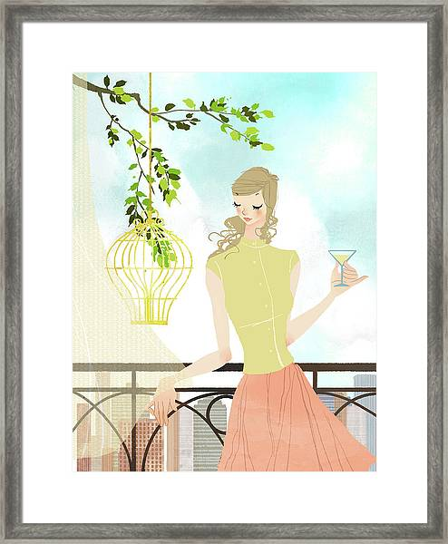 Portrait Of Young Woman Holding Framed Print