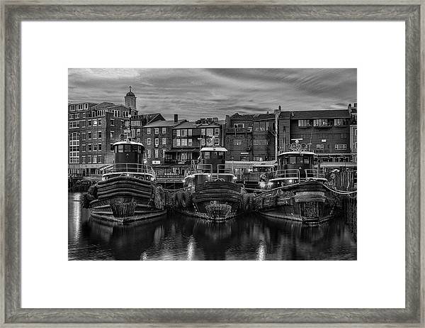 Portsmouth Tugboats At Dawnt In Black And White Framed Print