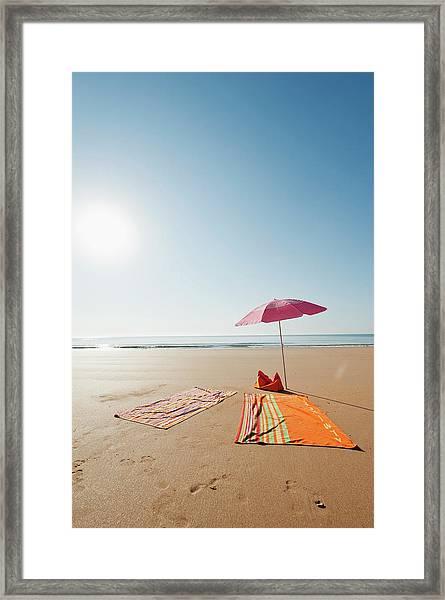 Portugal, Algarve, Sagres, Sunshade And Framed Print