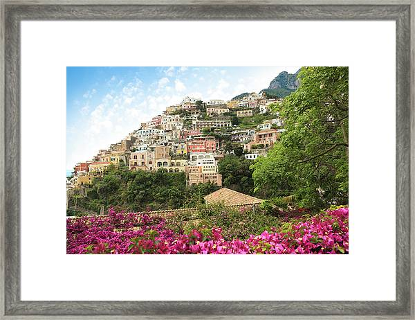 Positano On The Amalfi Coast, Campania Framed Print