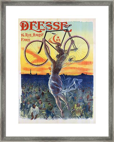 Poster Of Goddess With Bicycle Framed Print