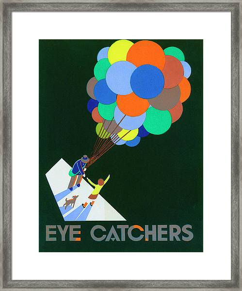 Poster With Balloon Vendor Framed Print