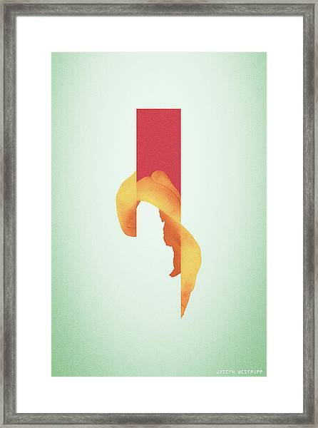 Powder Bone Flare - Surreal Abstract Elephant Bone Collage With Rectangle Framed Print