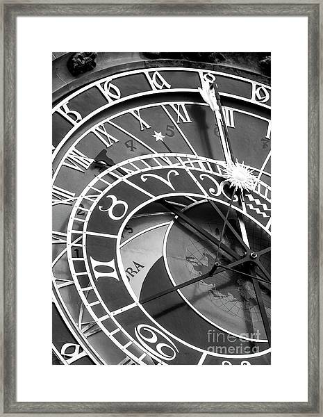 Prague Astronomical Clock In Old Town Square Framed Print