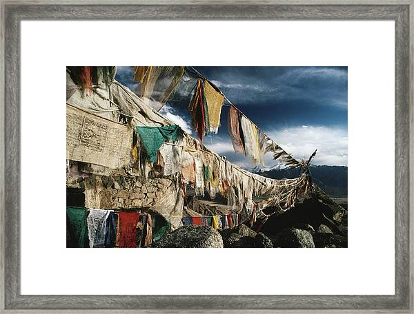 Prayer Flags Above Leh, Ladakh, Leh Framed Print