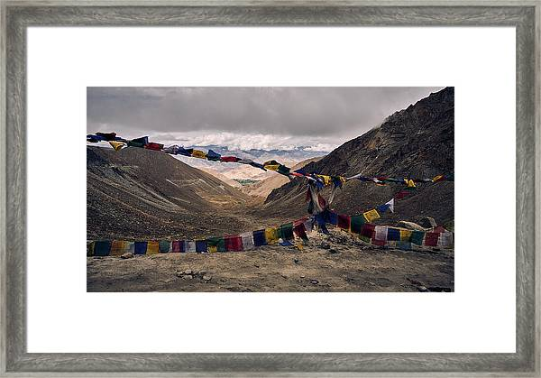Framed Print featuring the photograph Prayer Flags In The Himalayas by Whitney Goodey