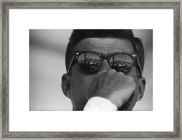 President Kennedy At San Luis Dam Framed Print