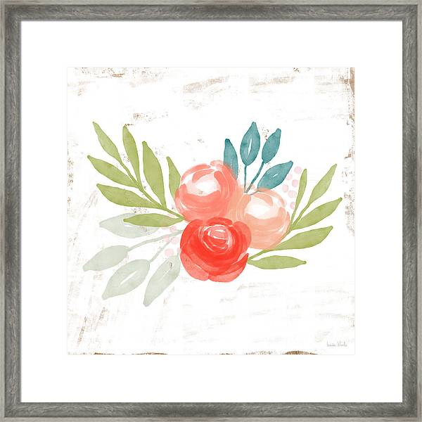 Pretty Coral Roses - Art By Linda Woods Framed Print