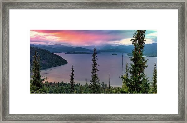 Priest Lake Sunset View Framed Print by Leland D Howard