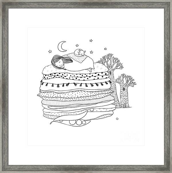 Princess On The Pea. Blankets And Framed Print